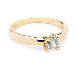 Balto aukso sužadėtuvių žiedas su geltonuoju Briliantu