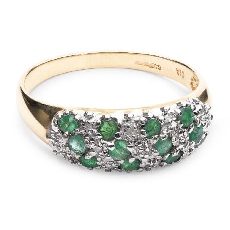 """Auksinis žiedas su Brangakmeniais """"Smaragdinė rasa"""""""