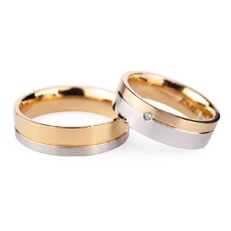 "Golden wedding rings with diamonds ""VMA 135"""