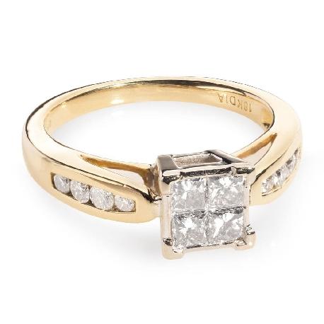 """Auksinis žiedas su Deimantais """"Princesės 3"""""""