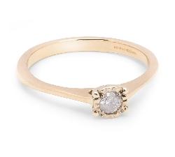 Balto aukso sužadėtuvių žiedas su Briliantu