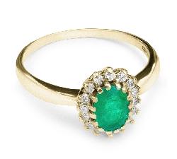 """Auksinis žiedas su Brangakmeniais """"Smaragdinė Gėlė"""""""