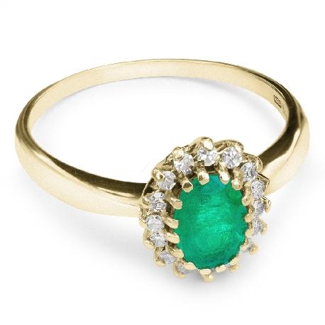 """Auksinis žiedas su Brangakmeniais """"Smaragdas 8"""""""