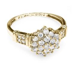 """Auksinis žiedas """"Briliantinė Saulė"""""""