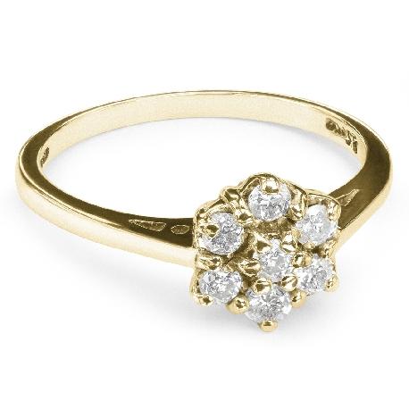 """Auksinis žiedas su Briliantais """"Briliantinė Gėlė 7"""""""