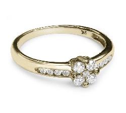 """Auksinis žiedas su Briliantais """"Gėlytė 2"""""""