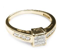"""Auksinis žiedas su Deimantais """"Princesės 4"""""""