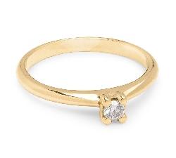 """Auksinis žiedas su Briliantu """"Dievaitė 18"""""""