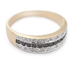 """Auksinis žiedas su Deimantais """"Juoda-Balta"""""""