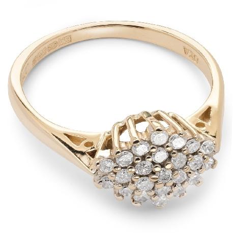 """Auksinis žiedas su briliantais """"Briliantinė gėlė 15"""""""