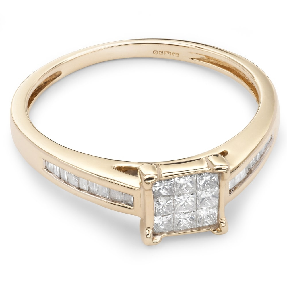 """Engagement ring with diamonds """"Princesses 19"""""""