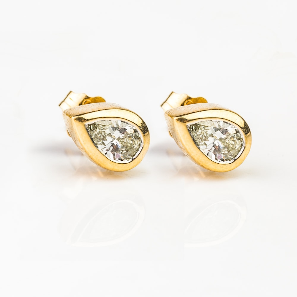 """Gold earrings with diamonds """"Classic 44"""""""