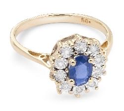 """Auksinis žiedas su Brangakmeniais """"Safyras 6"""""""