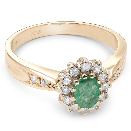 """Auksinis žiedas su Brangakmeniais """"Smaragdas 10"""""""