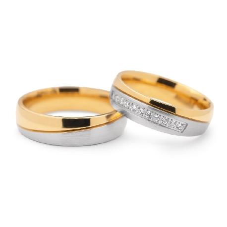 "Golden wedding rings with diamonds ""VKA 110"""