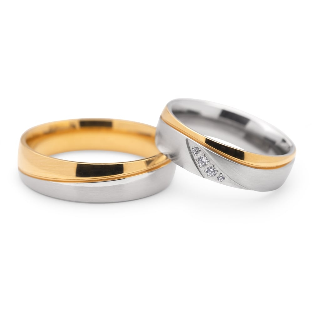 "Golden wedding rings with diamonds ""VKA 102"""
