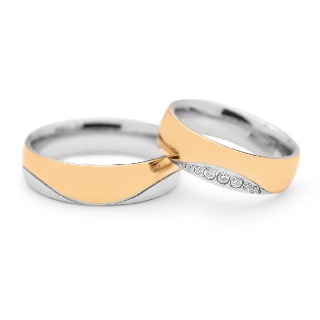 "Golden wedding rings with diamonds ""VKA 097"""