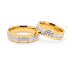 "Golden wedding rings with diamonds ""VKA 096"""