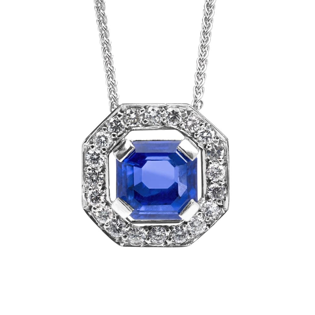 "Gold pendant with gemstones ""Sapphire 9"""