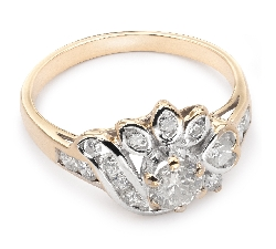 "Gold ring with diamonds ""Crown 9"""