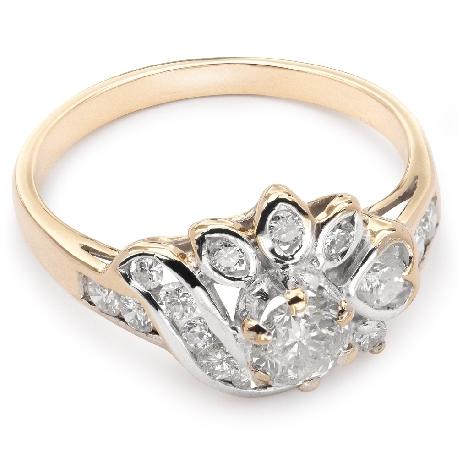 """Auksinis žiedas su deimantais """"Karūna 9"""""""