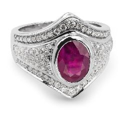 "Gold ring with gemstones ""Ruby 8"""