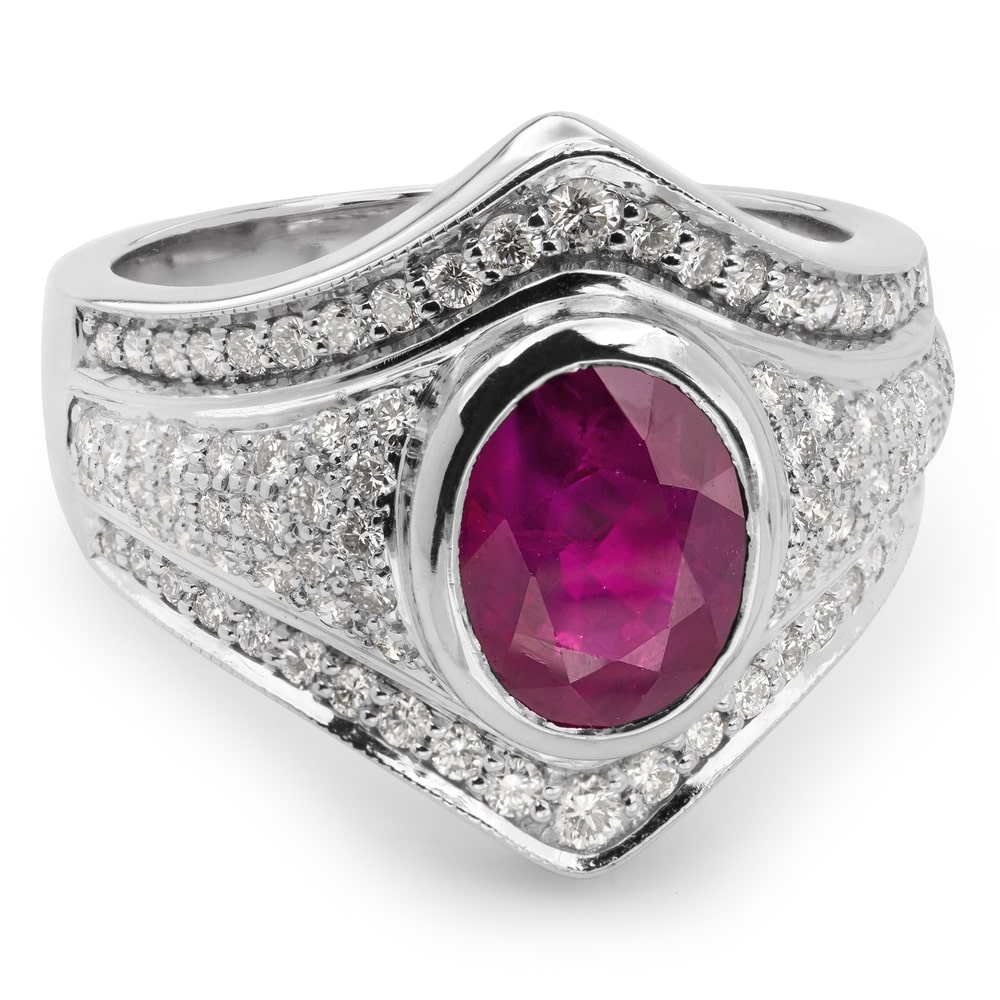 """Gold ring with gemstones """"Ruby 8"""""""
