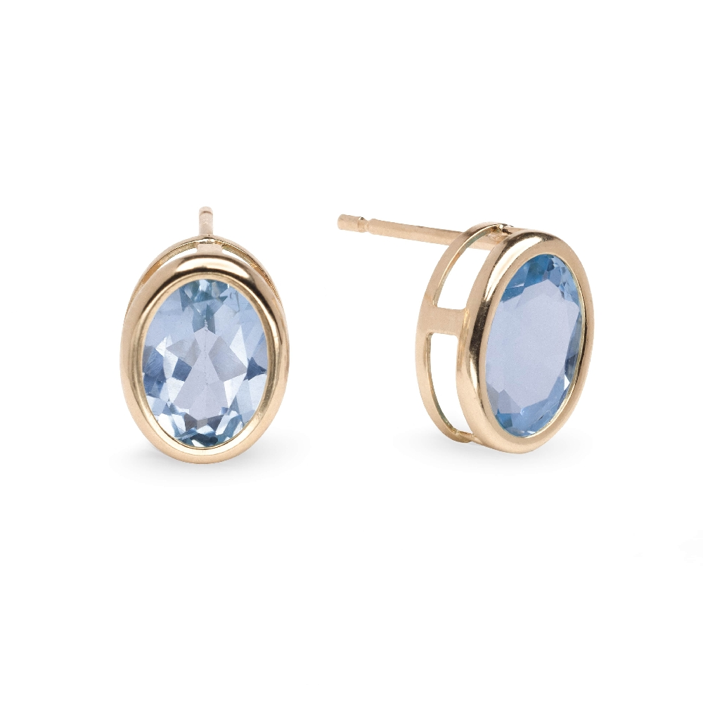 """Gold earrings with gemstones """"Colors 21"""""""