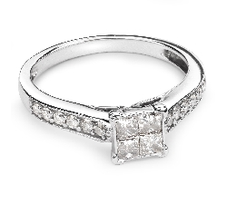 "Engagement ring with diamonds ""Princesses 33"""
