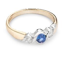 """Auksinis žiedas su Brangakmeniais """"Safyras 14"""""""