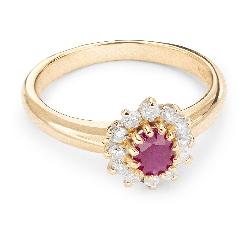 """Auksinis žiedas su Brangakmeniais """"Rubinas 10"""""""