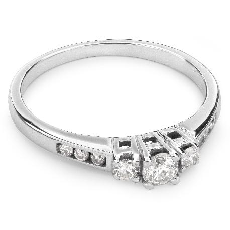 """Auksinis žiedas su briliantais """"Trilogija 10"""""""