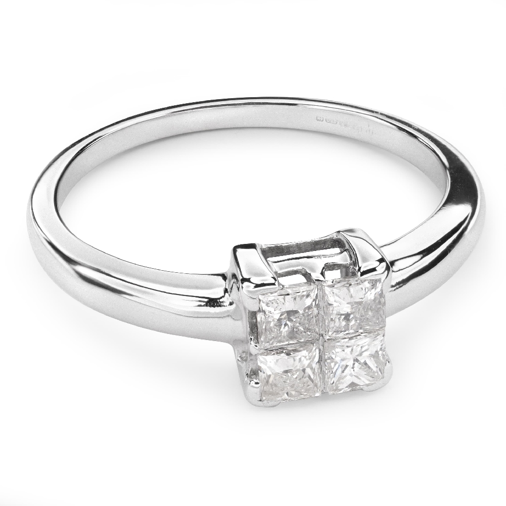"""Engagement ring with diamonds """"Princesses 37"""""""