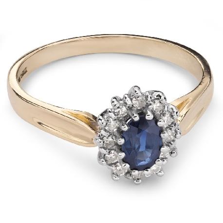 """Auksinis žiedas su Brangakmeniais """"Safyras 19"""""""