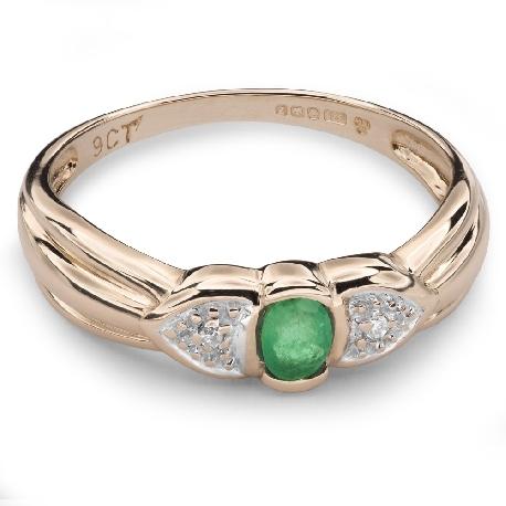 """Auksinis žiedas su Brangakmeniais """"Smaragdas 14"""""""