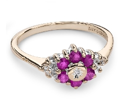 """Gold ring with gemstones """"Colors 53"""""""