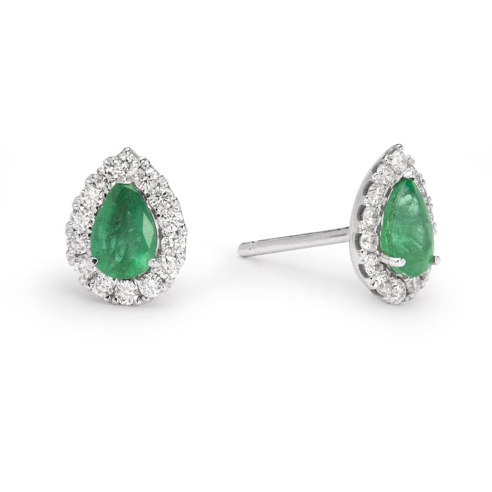 "Gold earrings with gemstones ""Emerald 19"""