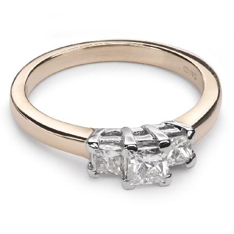 """Auksinis žiedas su deimantais """"Trilogija 15"""""""
