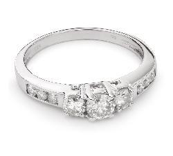 """Auksinis žiedas su Briliantais """"Trilogija 18"""""""