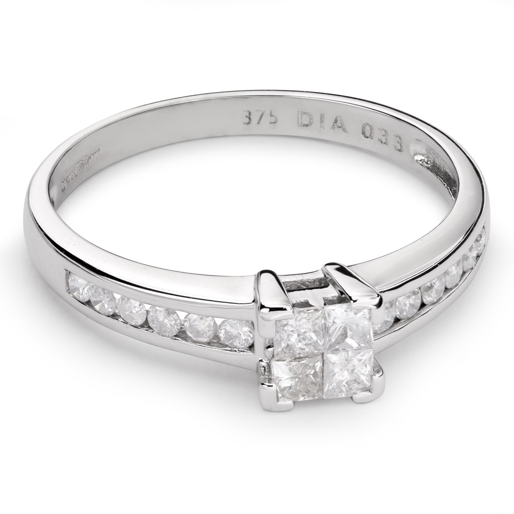 """Engagement ring with diamonds """"Princesses 41"""""""