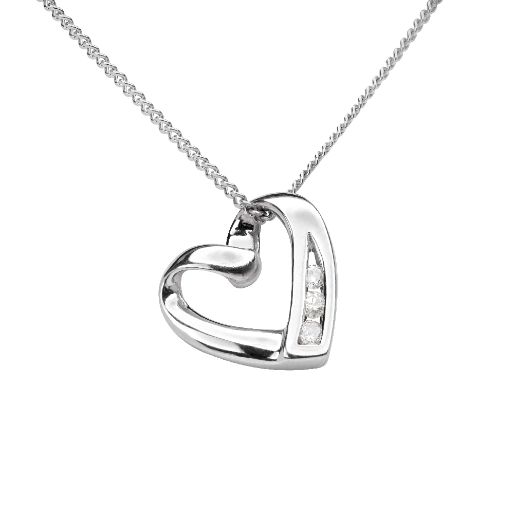 """Gold pendant with diamonds """"In love 32"""""""