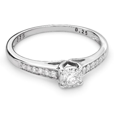"""Auksinis žiedas su Briliantais """"Grakštumas 100"""""""
