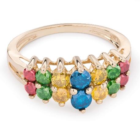 """Auksinis žiedas su deimantais """"Spalvos 41"""""""