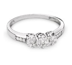 """Auksinis žiedas su Briliantais """"Trilogija 22"""""""