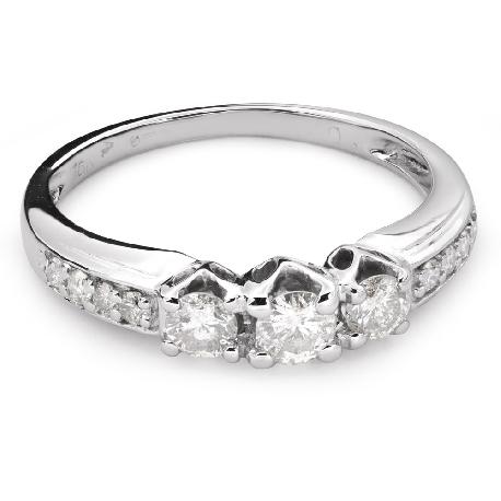 """Auksinis žiedas su Briliantais """"Trilogija 27"""""""