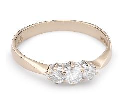 """Auksinis žiedas su Deimantais """"Trilogija 28"""""""