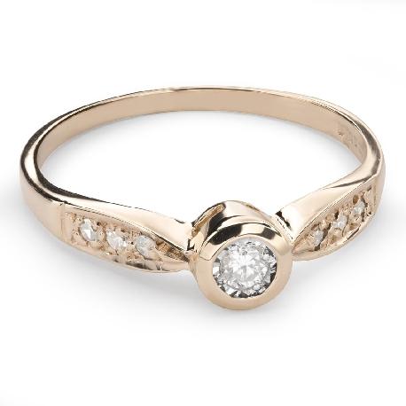 """Auksinis žiedas su Briliantu """"Tarp Uolų 24"""""""