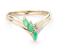 """Auksinis žiedas su brangakmeniais """"Smaragdas 22"""""""