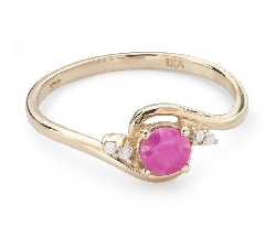 "Gold ring with gemstones ""Ruby 42"""