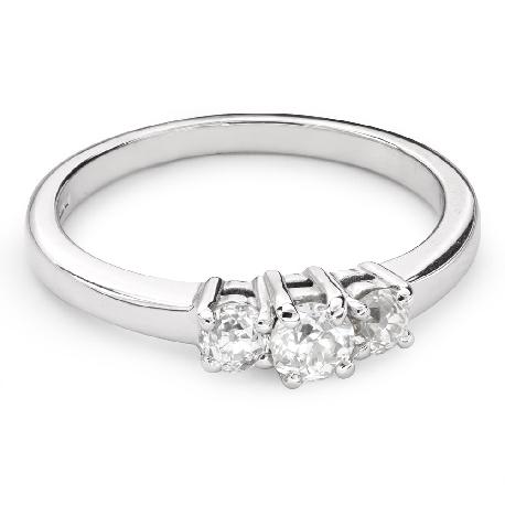 """Auksinis žiedas su deimantais """"Trilogija 35"""""""